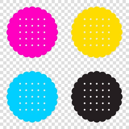 scone: Pyramid sign illustration. CMYK icons on transparent background. Cyan, magenta, yellow, key, black.