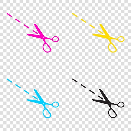Scissors sign illustration. CMYK icons on transparent background. Cyan, magenta, yellow, key, black. Illustration