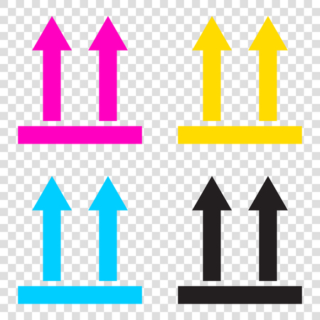 Logistic sign of arrows. CMYK icons on transparent background. Cyan, magenta, yellow, key, black.