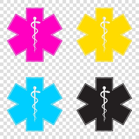 Medical symbol of the Emergency or Star of Life. CMYK icons on transparent background. Cyan, magenta, yellow, key, black.