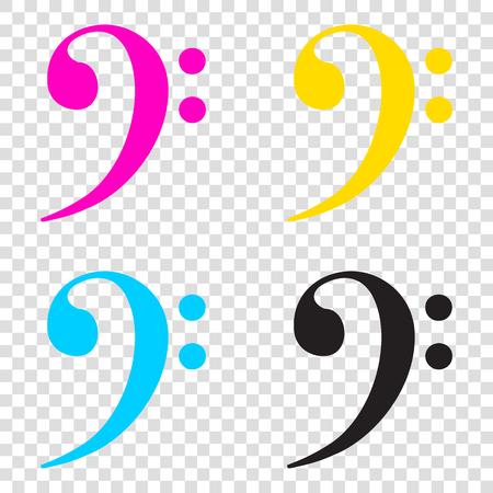 Cube sign illustration. CMYK icons on transparent background. Cyan, magenta, yellow, key, black. Illustration