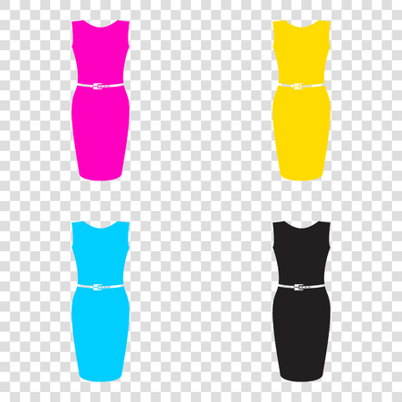 magenta dress: Dress sign illustration. CMYK icons on transparent background. Cyan, magenta, yellow, key, black.