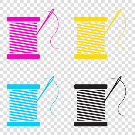 Thread with needle sign illustration. CMYK icons on transparent background. Cyan, magenta, yellow, key, black.