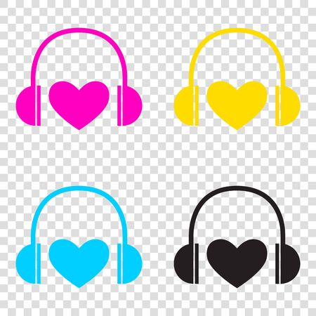 Headphones with heart. CMYK icons on transparent background. Cyan, magenta, yellow, key, black.