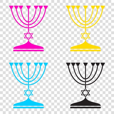 Jewish Menorah candlestick in black silhouette. CMYK icons on transparent background. Cyan, magenta, yellow, key, black.