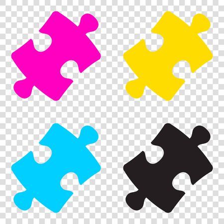 conundrum: Puzzle piece sign. CMYK icons on transparent background. Cyan, magenta, yellow, key, black.