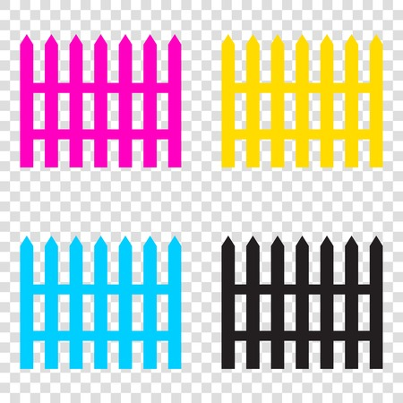 dissociation: Fence simple sign. CMYK icons on transparent background. Cyan, magenta, yellow, key, black.