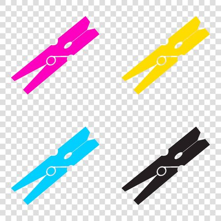 Clothes peg sign. CMYK icons on transparent background. Cyan, magenta, yellow, key, black.