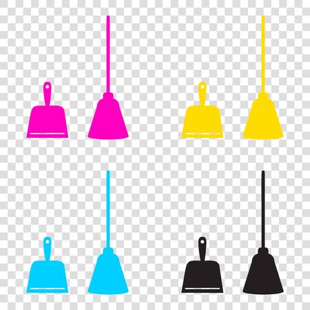 Dustpan vector sign. Scoop for cleaning garbage housework dustpan equipment. CMYK icons on transparent background. Cyan, magenta, yellow, key, black. Stock Photo