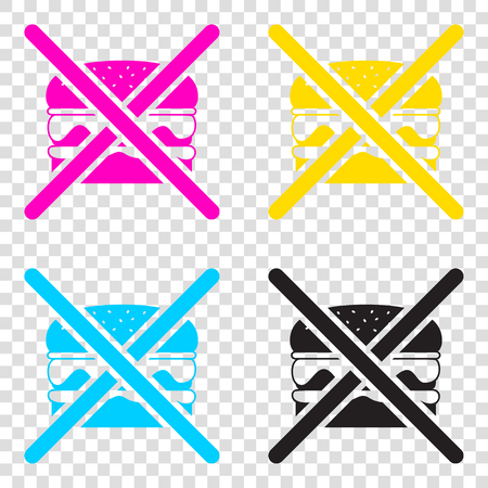 No burger sign. CMYK icons on transparent background. Cyan, magenta, yellow, key, black.