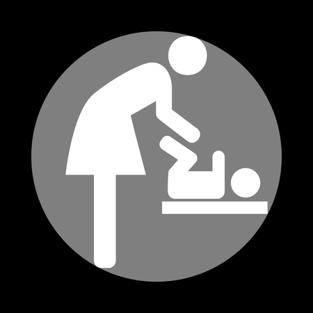 loo: Symbol for women and baby, baby changing. White icon in gray circle at black background. Circumscribed circle. Circumcircle. Illustration