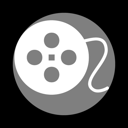 Film circular sign. White icon in gray circle at black background. Circumscribed circle. Circumcircle. Illustration