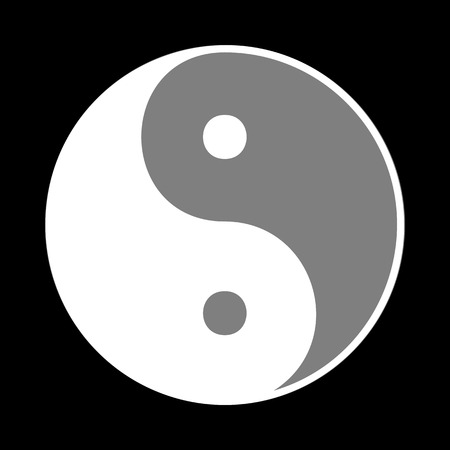Ying yang symbol of harmony and balance. White icon in gray circle at black background. Circumscribed circle. Circumcircle.