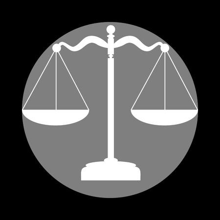 Scales balance sign. White icon in gray circle at black background. Circumscribed circle. Circumcircle.