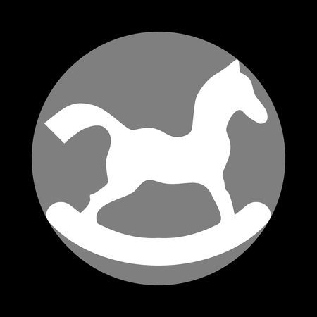 Horse toy sign. White icon in gray circle at black background. Circumscribed circle. Circumcircle.