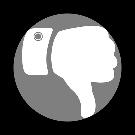 disapprove: Hand sign illustration. White icon in gray circle at black background. Circumscribed circle. Circumcircle.