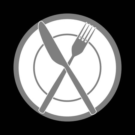 serving utensil: Fork, tape and Knife sign. White icon in gray circle at black background. Circumscribed circle. Circumcircle.