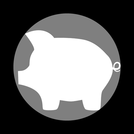 moneyed: Pig money bank sign. White icon in gray circle at black background. Circumscribed circle. Circumcircle.