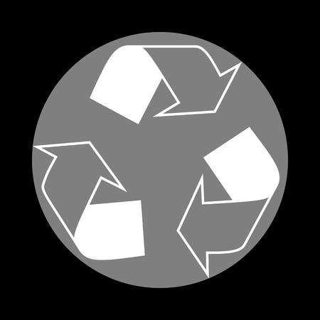 Recycle logo concept. White icon in gray circle at black background. Circumscribed circle. Circumcircle.