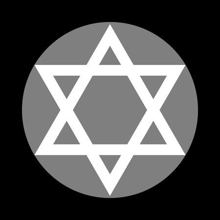 Shield Magen David Star. Symbol of Israel. White icon in gray circle at black background. Circumscribed circle. Circumcircle.