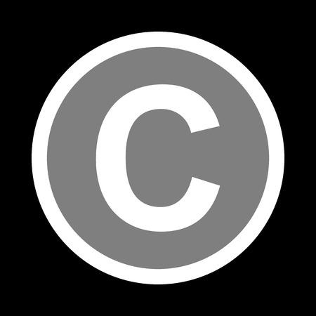 Copyright sign illustration. White icon in gray circle at black background. Circumscribed circle. Circumcircle. Illustration