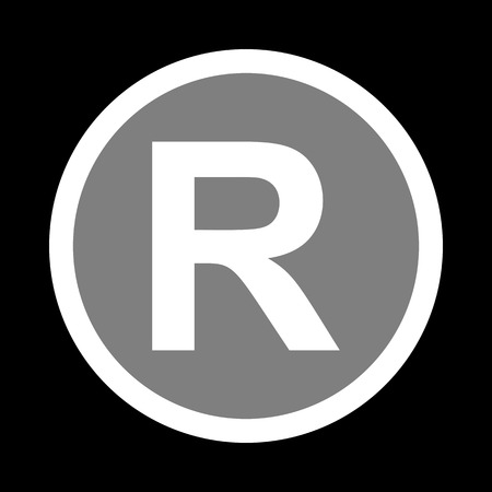 dispensation: Registered Trademark sign. White icon in gray circle at black background. Circumscribed circle. Circumcircle. Illustration