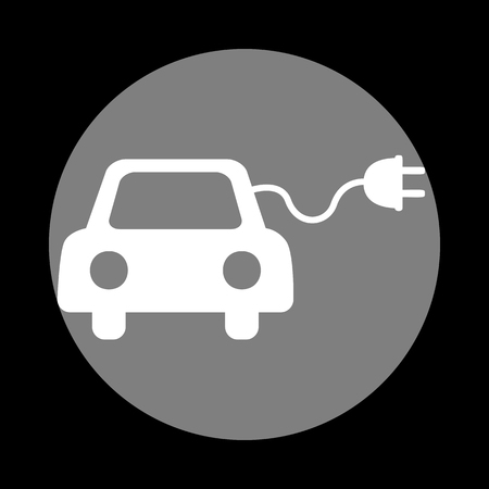 echnology: Eco electric car sign. White icon in gray circle at black background. Circumscribed circle. Circumcircle. Illustration