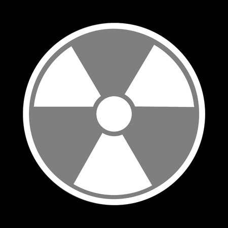 perilous: Radiation Round sign. White icon in gray circle at black background. Circumscribed circle. Circumcircle.