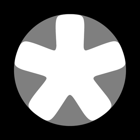 Asterisk star sign. White icon in gray circle at black background. Circumscribed circle. Circumcircle.