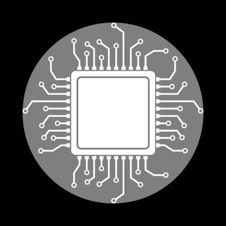 gpu: CPU Microprocessor illustration. White icon in gray circle at black background. Circumscribed circle. Circumcircle.