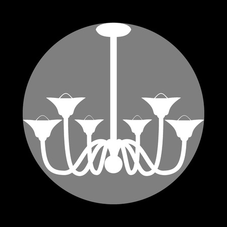 Chandelier simple sign. White icon in gray circle at black background. Circumscribed circle. Circumcircle. Illustration