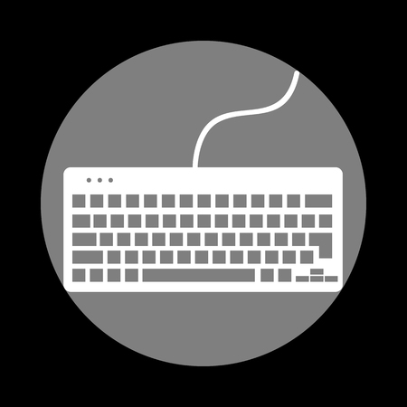 put the key: Keyboard simple sign. White icon in gray circle at black background. Circumscribed circle. Circumcircle.