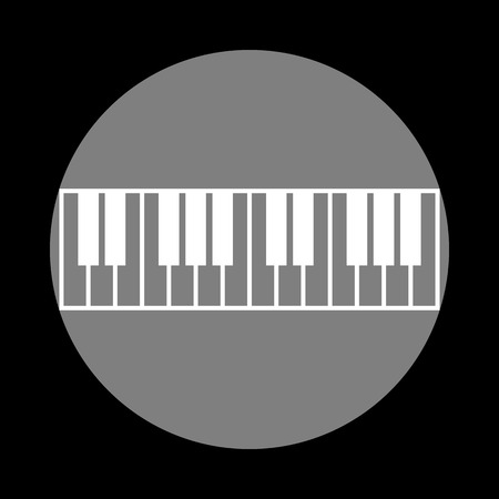 clavier: Piano Keyboard sign. White icon in gray circle at black background. Circumscribed circle. Circumcircle.