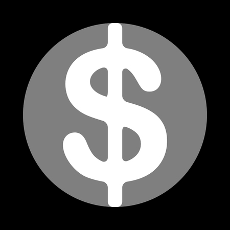 Dollars sign illustration. USD currency symbol. Money label. White icon in gray circle at black background. Circumscribed circle. Circumcircle.