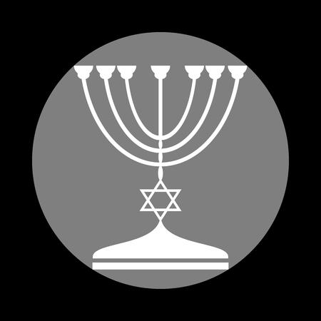 Jewish Menorah candlestick in black silhouette. White icon in gray circle at black background. Circumscribed circle. Circumcircle. Illustration