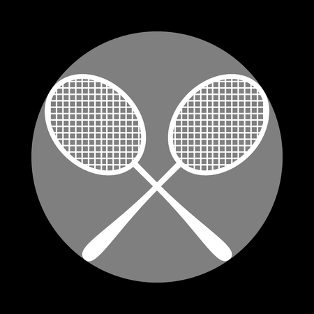Tennis racquets sign. White icon in gray circle at black background. Circumscribed circle. Circumcircle.