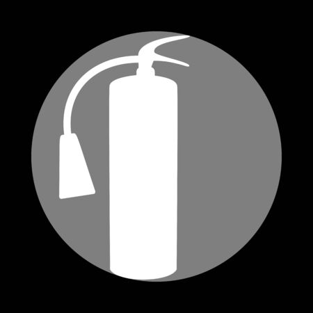 Fire extinguisher sign. White icon in gray circle at black background. Circumscribed circle. Circumcircle.