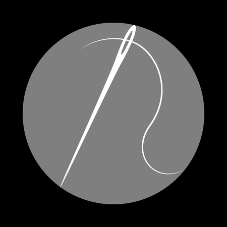 Needle with thread. Sewing needle, needle for sewing. White icon in gray circle at black background. Circumscribed circle. Circumcircle.