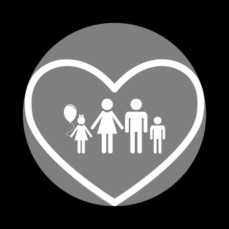 Family sign illustration in heart shape. White icon in gray circle at black background. Circumscribed circle. Circumcircle.