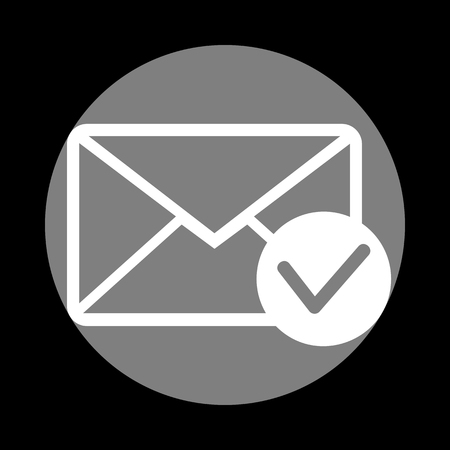 allow: Mail sign illustration with allow mark. White icon in gray circle at black background. Circumscribed circle. Circumcircle. Illustration