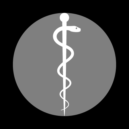aesculapius: Symbol of the Medicine. White icon in gray circle at black background. Circumscribed circle. Circumcircle. Vectores