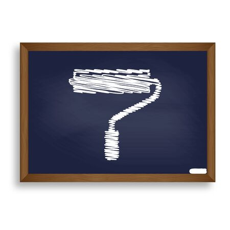 adorn: Roller sign illustration. White chalk icon on blue school board with shadow as background. Isolated. Stock Photo