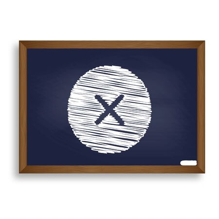voted: Cross sign illustration. White chalk icon on blue school board with shadow as background. Isolated. Stock Photo