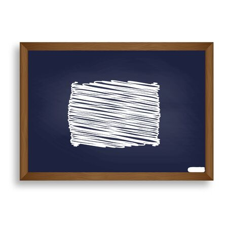 softy: Pillow sign illustration. White chalk icon on blue school board with shadow as background. Isolated.