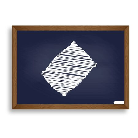 cushioned: Pillow sign illustration. White chalk icon on blue school board with shadow as background. Isolated.