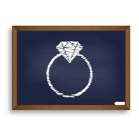 Diamond sign illustration. White chalk icon on blue school board with shadow as background. Isolated. Illustration