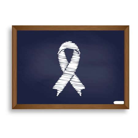 substance abuse awareness: Black awareness ribbon sign. White chalk icon on blue school board with shadow as background. Isolated. Illustration