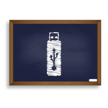 Vector USB flash drive sign. White chalk icon on blue school board with shadow as background. Isolated.