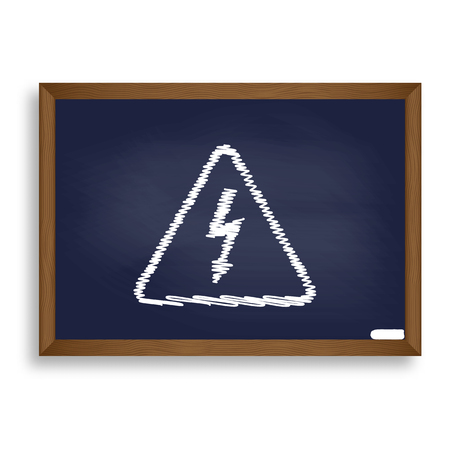 volte: High voltage danger sign. White chalk icon on blue school board with shadow as background. Isolated.
