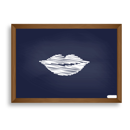 hot lips: Lips sign illustration. White chalk icon on blue school board with shadow as background. Isolated.